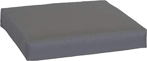 Beo Sitzkissen für Lounge- und Paletten-Möbel | Anthrazit | Gr. 60x60 cm, 9 cm dick | glatte Optik | Bezug 60% Baumwolle/40% Polyester | Wasser- und Fleckabweisend | mit Reißverschluss | Öko-Tex-Standard