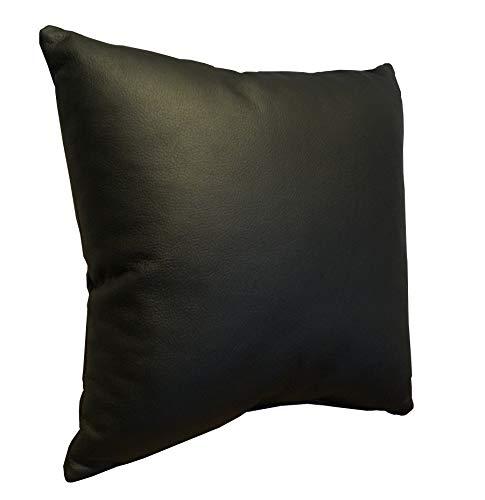 Quattro Meble Schwarz Echtleder Kissen Sofa & Stuhl Dekokissen Zierkissen Echtleder Rückenkissen Rindsleder Echt Leder Modell 1EL (40 x 40 cm)