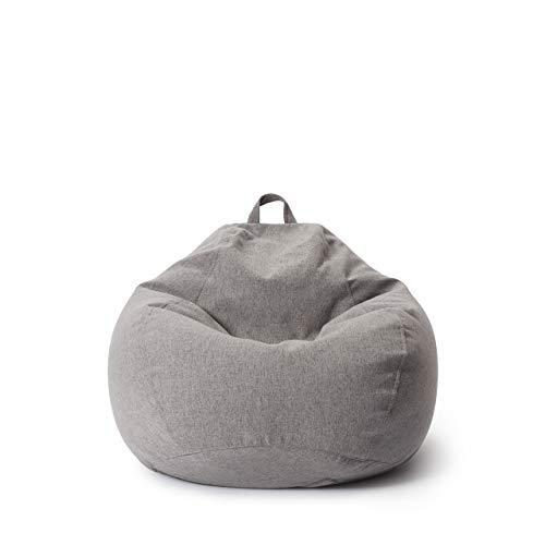 Lumaland Comfort Line Sitzsack M Indoor - 70x80x50 cm - Bodenkissen, Bean Bag Chair - 120 L - EPS Perlen Füllung - Hellgrau