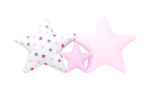 3 Pack Kissen Set Stern Sternchen Zierkissen ca. 60 cm / 28cm Kinderzimmer Zimmer Deko Sternkissen Baby Dekokissen mit Füllung für Schlafzimmer Babyzimmer Kinderbett Mädchen Jungen SET2
