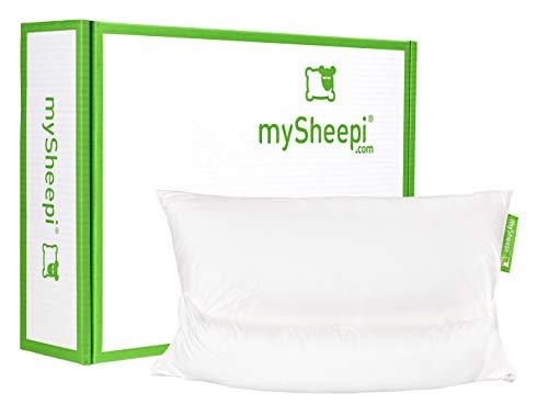 mySheepi Home 80 x 40 cm ergonomisches Kopfkissen mit Medlinefüllung - Nackenstützkissen - individuell befüllbar mit beweglicher Nackenrolle