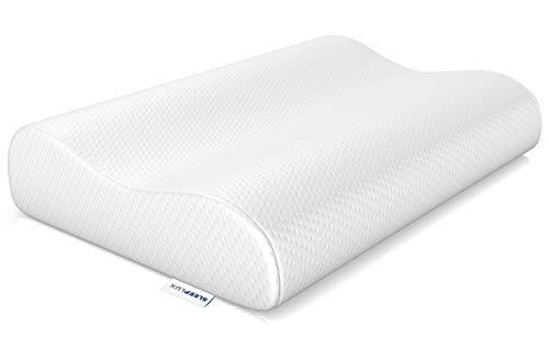 SLEEPLUX Nackenstützkissen | Mit druckausgleichendem Memory Foam | Ergonomisch für die HWS | Baumwolle | Entspannt aufwachen | Schlafkissen