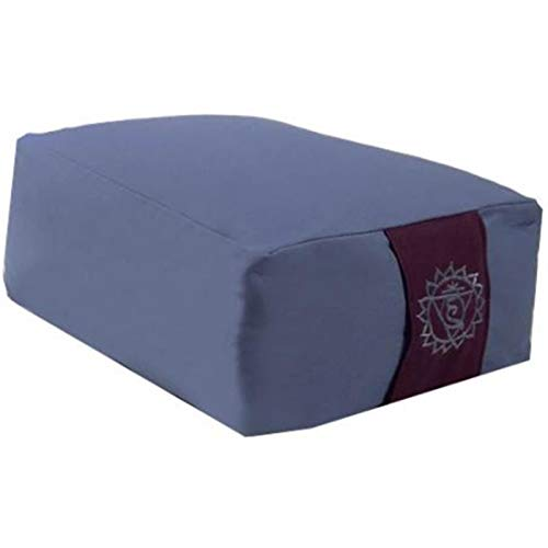 Panotophia Meditationskissen blau 5. Chakra - 38x28x15 cm Yogakissen Buchweizenfüllung ? Yoga Sitzkissen