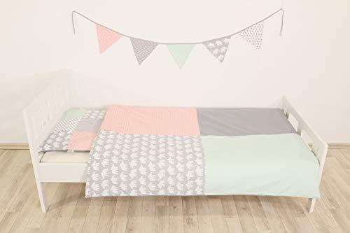 """ULLENBOOM ® Kinderbettwäsche 100 x 135 cm""""Elefant Mint Rosa"""" (Made in EU) - mit Kissenbezug (40x60 cm) und Deckenbezug (100x135 cm), Kinder- & Baby Bettwäsche aus Baumwolle, Design: Patchwork"""