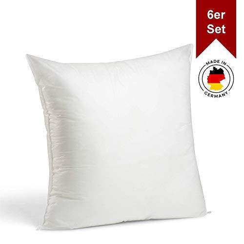 LILENO HOME 6er Set Kissenfüllung 50 x 50 cm - waschbares Innenkissen geeignet für Allergiker - Polyester Kisseninlet als Couchkissen, Sofa Kissen, Cocktailkissen und Kopfkissen