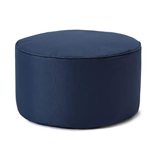 Lumaland Indoor Outdoor Sitzhocker 25 x 45 cm - Runder Sitzpouf, Sitzsack Bodenkissen, Sitzkissen, Bean Bag Pouf - Wasserabweisend - Pflegeleicht - ideal für Kinder und Erwachsene - Navyblau