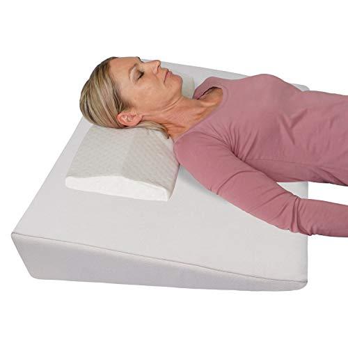 Bettkeil Keilkissen Schlaferhöhung + Nackenkissen Gratis dazu! Als Bein- oder Rückenkissen für Bett und Sofa/Seiten- und Rückenschläfer Matratzenkeil, Matratzenerhöhung 90x60x12 cm (beige)