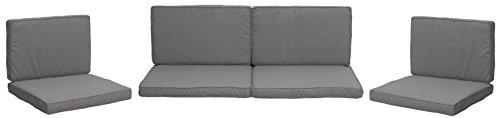 Beo Palettenkissen Set für Rattan Lounge-Möbel Monaco | Hellgrau | 8 Kissen | Bezug 50% Baumwolle/50% Polyester | maschinenwaschbar | mit Reißverschluss | schadstofffrei nach Öko-Tex-Standard