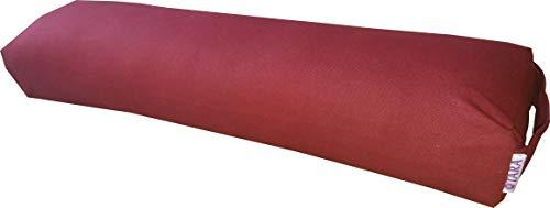 Yoga-Pranayama-Kissen – Original Iyengar Yoga-Requisiten – Unterstützung der Wirbelsäule – 100% Baumwoll-Füllung – 10x16x65 cm – Textilband für einfaches Tragen – abnehmbarer und waschbarer Bezug, rot