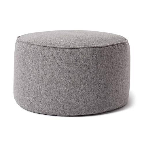 Lumaland Comfort Line Sitzsack-Hocker 25 x 45 cm - Indoor - mit extra starken Nähten, pflegeleicht - Runder Sitzpouf, Bodenkissen Bean Bag Pouf - Hellgrau