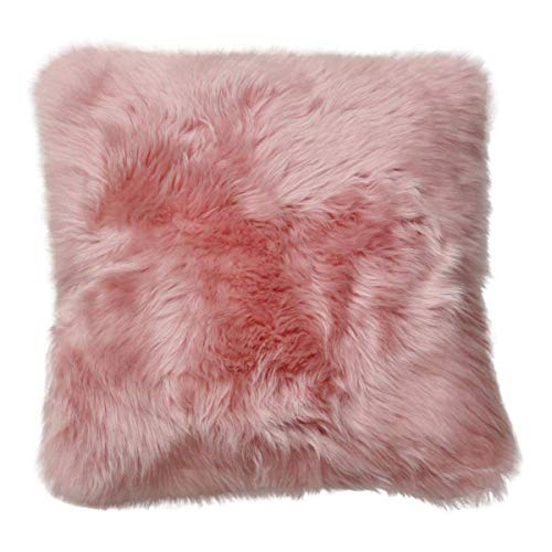 Lammfellkissen Merino Lange Wolle ROSA 40 x 40 cm + Inlett Daunenkissen echtes Schaffell Zierkissen Dekokissen Sofakissen
