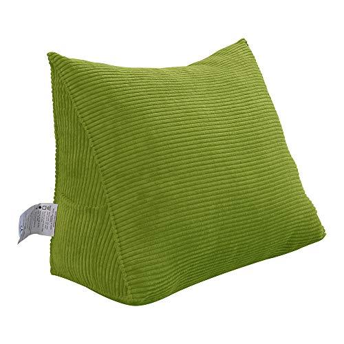 VERCART Rückenkissen Dreieckig Kopfkissen Keilkissen Palettenkissen Weich und Bequem aus Softer Waschbar Grün 45cm