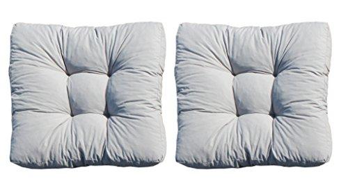 Ambientehome 2er Set Loungekissen, grau, ca 60 x 60 x 10 cm, Polsterkissen Polyrattan Lounge Ersatzkissen