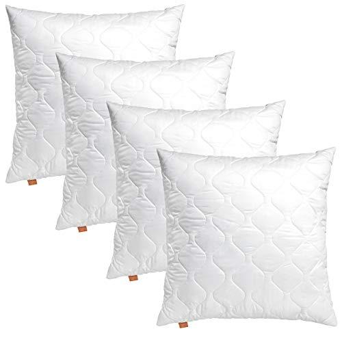 sleepling 4er Set 191173 Basic 100 Kopfkissen Mikrofaser Sofakissen 40 x 40 cm, weiß