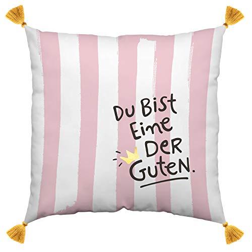 H:)PPY life 45982 Baumwoll-Kissen mit Motiv Die Guten, mit goldenen Quasten, 40 cm x 40 cm, Rosa Kissen