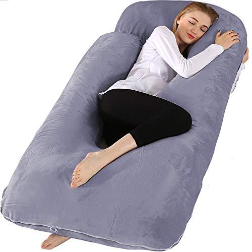 Chilling Home Schwangerschaftskissen, 60 Zoll Ganzkörperkissen Mutterschaftskissen für Schwangeren, Komfort U-förmiges Kissen mit abnehmbarem waschbarem Samtüberzug (60 x 28 Zoll)