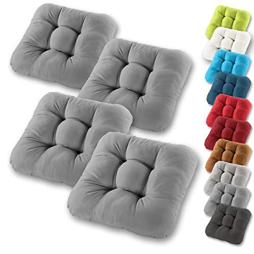 Gräfenstayn® 4er-Set Sitzkissen 38x38x8cm aus 100% Baumwolle (Bezug) mit Öko-Tex Siegel in vielen Farben, für Indoor und Outdoor mit Dicker Polsterung (Anthrazit)
