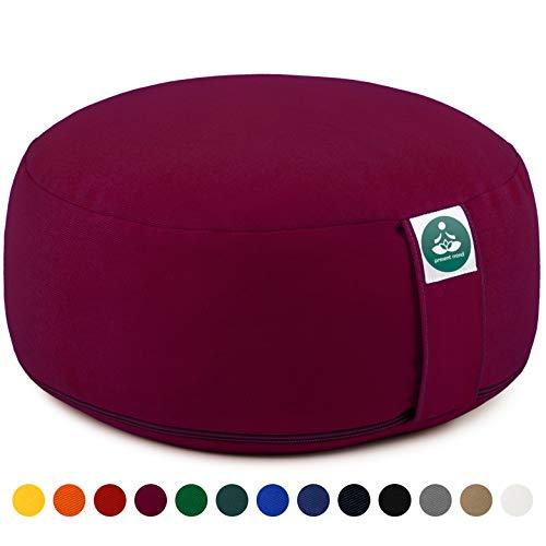 Present Mind Yogakissen Meditationskissen Zafu Rund - Sitzhöhe 16cm - Waschbarer Bezug aus Baumwolle
