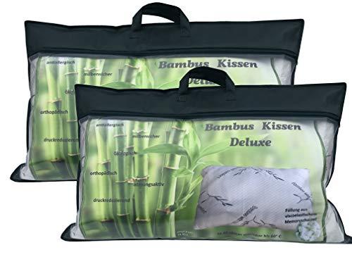 portabest 2er Set Bambuskissen  Bambus Kissen für Seitenschläfer 40x80 cm  Kopfkissen mit Memory Visco Foam Schaum   Comfort Schlafkissen Nackenstützkissen orthopädiosch   Nackenkissen 80x40 cm