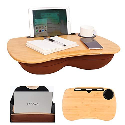 Hoteck Laptop kissentablett, Laptop unterlage Knietablett für Bett Mit Kabelloch,Mediensteckplatz und Getränkehalter, laptopkissen für max. 17 Zoll Notebook MacBook