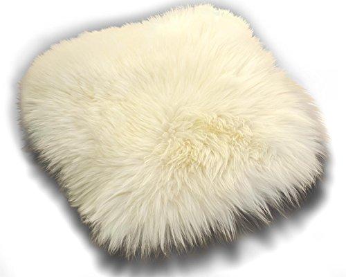 Zaloop Sitzkissen aus echtem Lammfell in versch. Farben und Größen auch medizinisch echt Fell (weiß, ca. 40 x 40 cm)