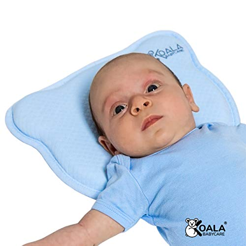 DAS ORIGINAL Koala Babycare® - Orthopädisches Babykissen gegen Plattkopf mit zwei Bezügen zur Heilung und Vorsorge der Plagiozephalie (Schädelverformung) Babykopfkissen – eingetragenes Design – Blau