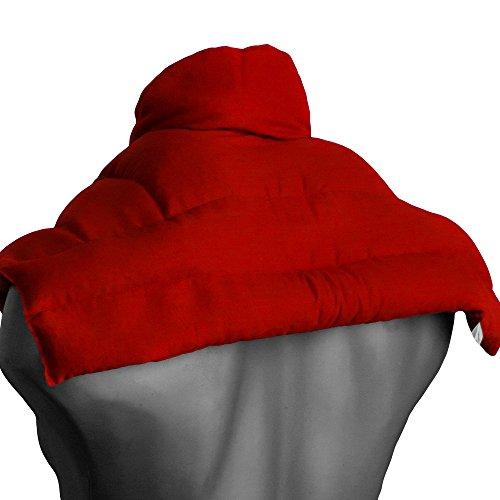 Wärmekissen Nacken: Rapssamenkissen Schulter & Nackenkissen mit Kragen, rot. Körnerkissen, Nackenwärmer - Einfach im Ofen oder Mikrowelle warm machen