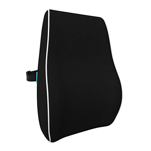 bonmedico Ergonomisches Rücken-Kissen aus Memory Foam, Rückenkissen für Bequeme Sitzhaltung im Alltag, Lendenkissen für Büro & Home Office Zuhause, Schwarz, Small