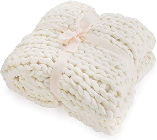 ZCXBHD Riesenstrickdecke Wurf Chunky, Weich Cozy Wurf Große Strickkissen Mat Küchenstuhl Pad Haustier-Bett-Baby-Teppich for Reisen Urlaub Warm (Color : White, Size : 80 * 80cm)
