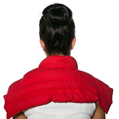 Bio-Körnerkissen Schulter & Nackenkissen mit Kragen | Bio-Stoff rot | Gute Wärme für den Nacken | Eine Alternative zum Nackenhörnchen