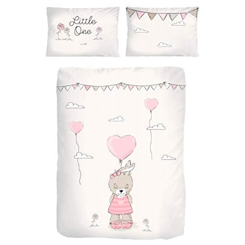 Baby-Bettwäsche Set Baumwolle Biber ☆ Kinderbettwäsche 135x100 für Mädchen ☆ Hase Little One ☆ rosa, beige - 1 Kissenbezug 40x60 + 1 Bettbezug 100x135 cm