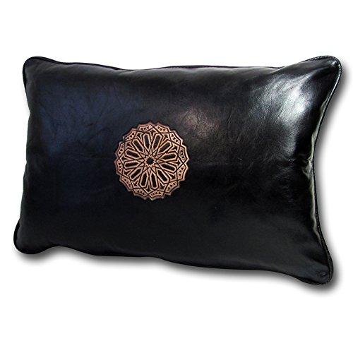 ALMADIH Lederkissen XL 50x35 cm schwarz mit Füllung - 100% traditionelle Handarbeit aus Lammleder - echt Leder Kissen Sofakissen Dekokissen Zierkissen orientalische Lounge (Kissen 50x35 schwarz)