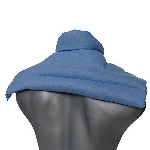 Bio-Dinkelkissen Schulter & Nackenkissen mit Kragen. Wärmekissen Körnerkissen Nackenwärmer Heizkissen für Mikrowelle und Backofen (Farbe: hellblau, Bio-Dinkel)