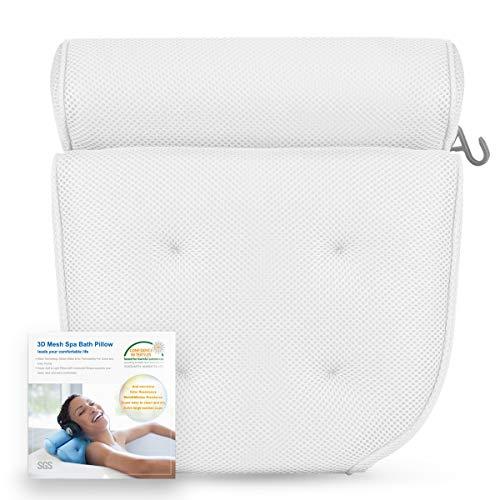 Badewannenkissen mit 4 Saugnäpfen Nackenkissen aus Polyester Schnelles Trocknen Einfache Reinigung - Komfort Badekissen,Weiß