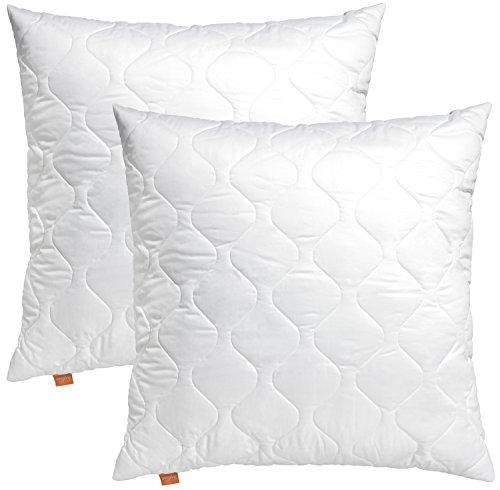 sleepling 2er Set 191113 Basic 100 Kopfkissen Mikrofaser Sofakissen 40 x 40 cm, weiß