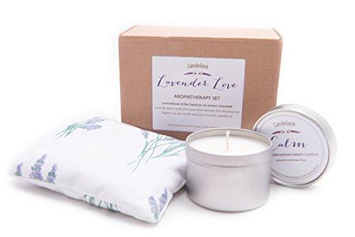 Sea Salts Wellness Lavendel Geschenkbox mit Schleife Original französischer Lavendel Lavendelkissen 15 x15 cm Bio Lavendel Kerze 15 Std. Brenndauer reines ätherisches Öl Valentinstag