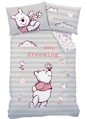 Winnie Pooh Babybettwäsche Flanell/Biber Mädchen 1 Kissenbezug 40x60 + 1 Bettbezug 100x135 cm Kinderbettwäsche Disney's Winnie Puuh 100% Baumwolle