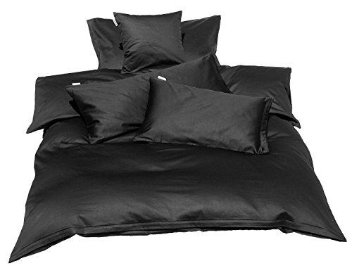 beties Mako Satin Bettbezug 135 x 200 cm (ohne Kissen) in 9 eleganten Uni Farben Schwarz 1 Stück (wählen Sie Ihr Lieblingskissen extra dazu)