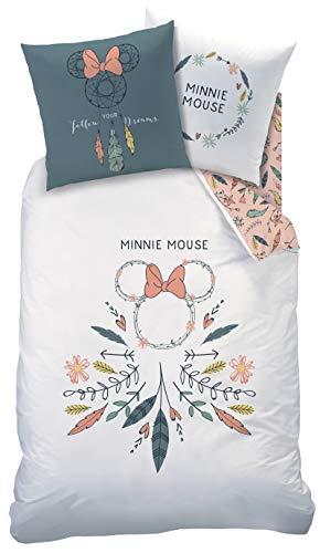 TRAUMFÄNGER Bettwäsche Set 2 teilig Disney's Minnie Mouse · Mädchenbettwäsche · Boho Style · Dreamcatcher, Feder - Kissenbezug 80x80 + Bettbezug 135x200 cm