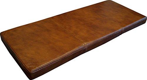 Quattro Meble Braun Echtleder Bankauflage Sitzkissen Lederkissen Sitzpolster Bank Auflage doppelt genähtes Echt Leder Kissen Sitzauflage (50 x 100 cm)