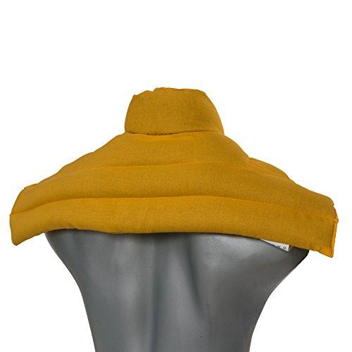 Wärmekissen Nacken: Rapssamenkissen Schulter & Nackenkissen mit Kragen. Körnerkissen, Nackenwärmer - Einfach im Ofen oder Mikrowelle warm machen (Farbe: mango, Rapssamen)