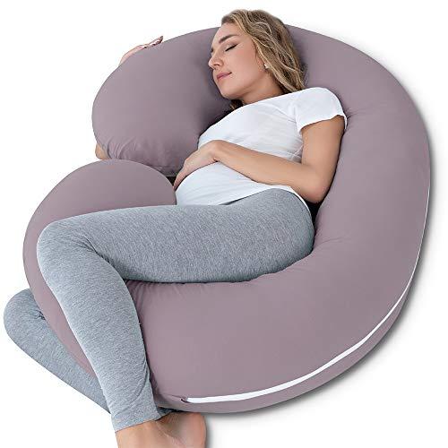 NiDream Schwangerschaftskissen, Lagerungskissen mit Jerseybezug, C-förmiges Körperkissen für Schwangere Frauen (Jersey Lila)