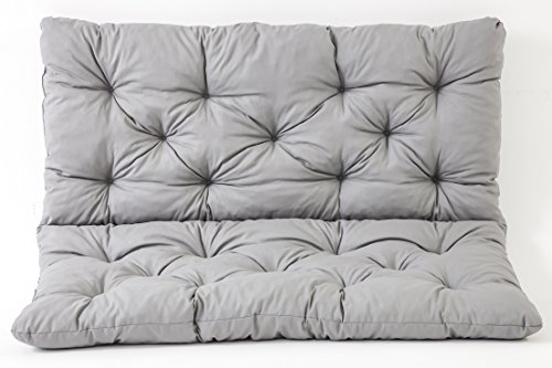 Ambientehome Sitzkissen und Rückenkissen Bank Hanko, grau, ca 100 x 98 x 8 cm, Bankauflage, Polsterauflage