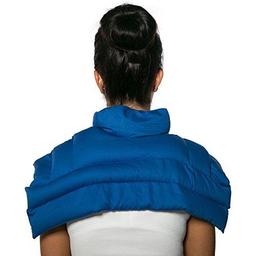 Leinsamenkissen Schulter & Nackenkissen mit Kragen. Gute Wärme für den Nacken. Eine Alternative zum Nackenhörnchen   Bio-Stoff enzianblau