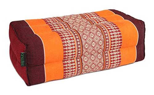 ANADEO YogaProducts Standard Yoga- und Meditationskissen Zafu - Bio Material 100% Kapok gefüllt - Hohe Dichte - Feste Polsterung für optimalen Komfort und Stabilität, Burgunder-Orange, x1