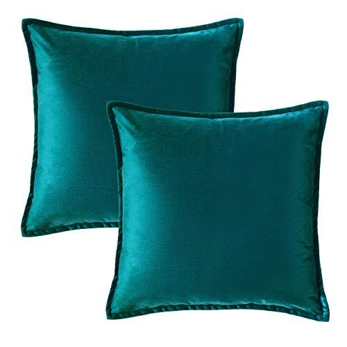 Bedsure Kissenhülle 40x40 türkis Doppelpack, Kissenbezug 40 x 40 cm aus samt Mikrofaser, dekorative Kissenbezüge 2er Set weich und atmungsaktiv