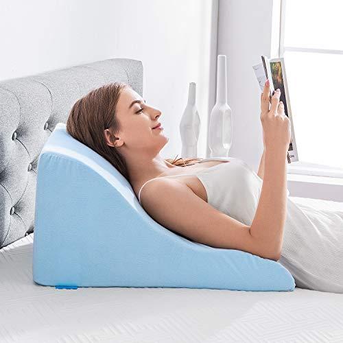 NOFFA Lesekissen - Memory-Schaum Keilkissen - perfekt für Rückenunterstützung beim Entspannen, Spielen, Lesen oder Fernsehen