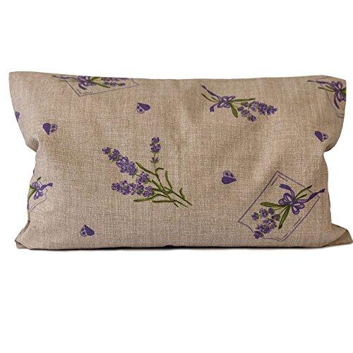 Lavendelkissen 30x20cm, Sorgenfrei + Bio Inlett natur - Bio-Lavendelblüten - Duftkissen Kräuterkissen