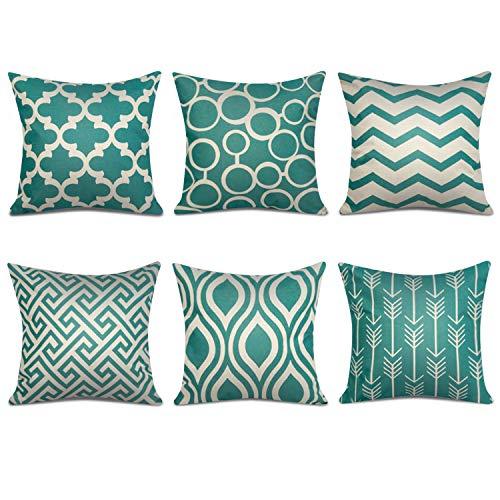 Topfinel 6er Set Kissenbezüge 45x45 cm Qualitäts Kissenhüllen in Baumwolle Leinen-Optik mit Geometrischen Mustern für Sofa Auto Terrasse Zierkissenbezüge Serie Grün und Beige