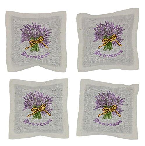 4 Stück (4 x 25 Gramm) Lavendel 100 Gramm Duftkissen mit Reissverschluss Lavendelsäckchen Duftsäckchen Modell Lavendelstrauß oder Edelweiß (Flieder weiß)